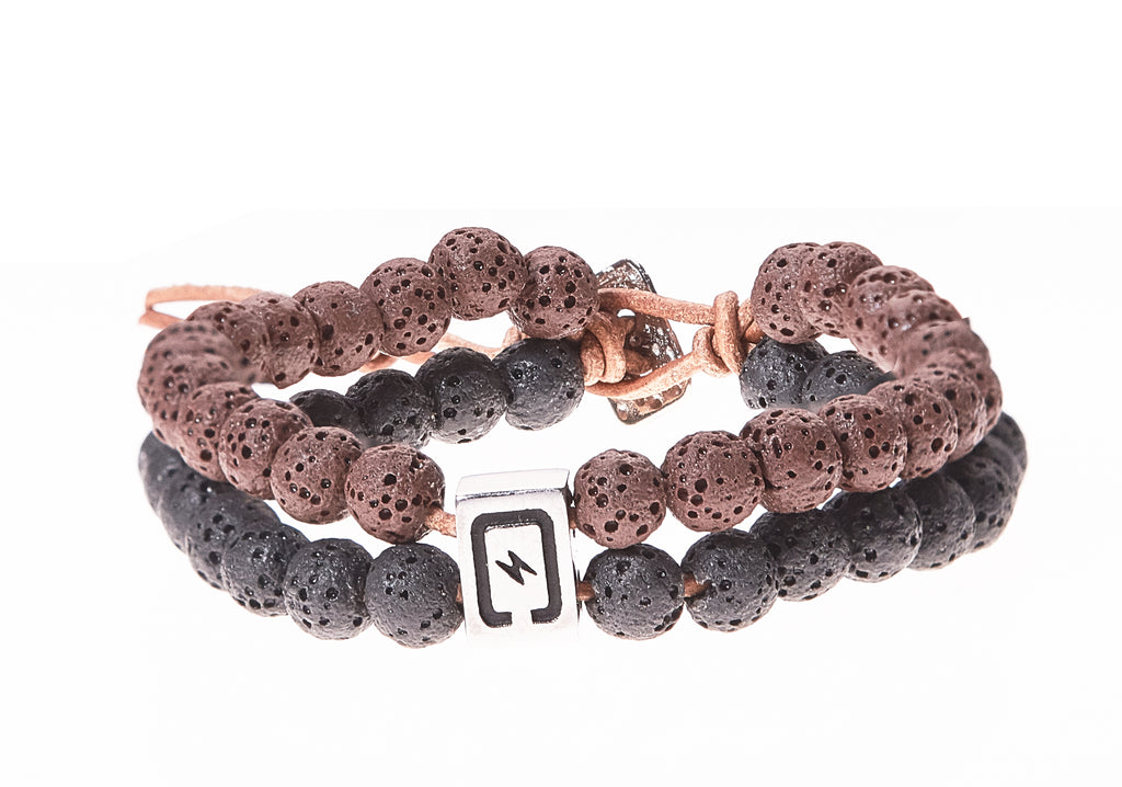 Lava Stone Double Strand Men's Bracelet in Brown & Black - BellaRyann