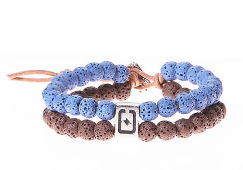 Lava Stone Double Strand Men's Bracelet in Brown & Blue - BellaRyann