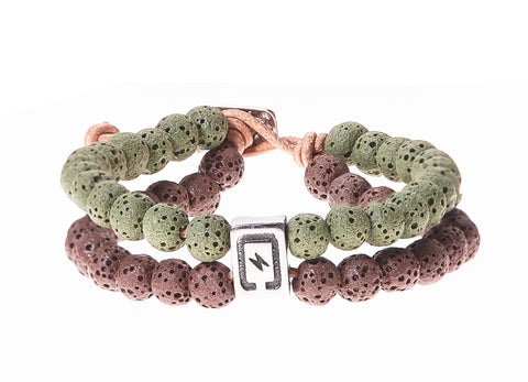 Lava Stone Double Strand Men's Bracelet in Brown & Green - BellaRyann
