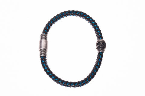 Braided Synthetic & Stainless with Metal Skull Men's Bracelet in Black/Blue - BellaRyann