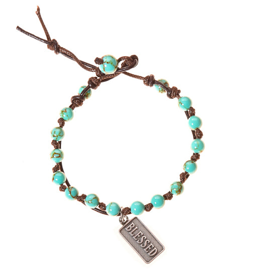 Blessed Stainless Steel Charm and Turquoise Howlite Stone Leather Wrap - BellaRyann