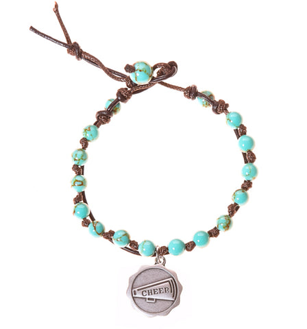Cheer Stainless Steel Charm and Turquoise Howlite Stone Leather Wrap - BellaRyann