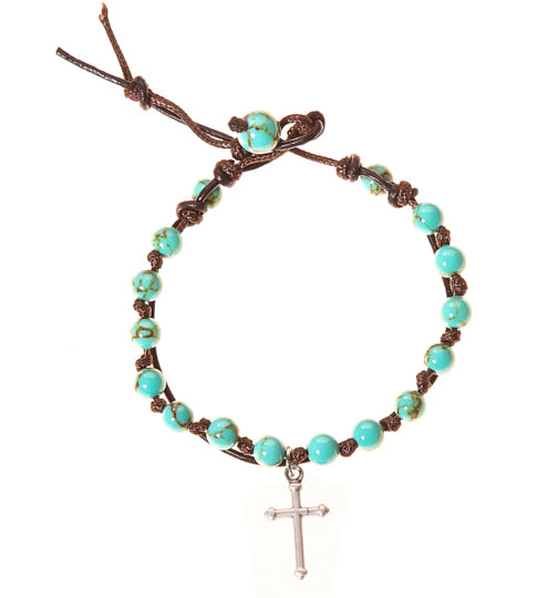 Cross Stainless Steel Charm and Turquoise Howlite Stone Leather Wrap - BellaRyann