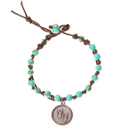 Flip Flops Stainless Steel Charm and Turquoise Howlite Stone Leather Wrap - BellaRyann