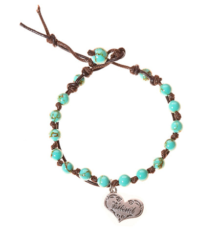 Friend Stainless Steel Charm and Turquoise Howlite Stone Leather Wrap - BellaRyann