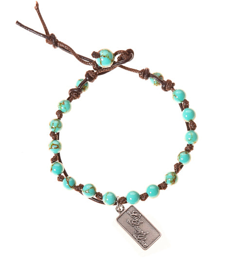 Live Love Laugh Stainless Steel Charm and Turquoise Howlite Stone Leather Wrap
