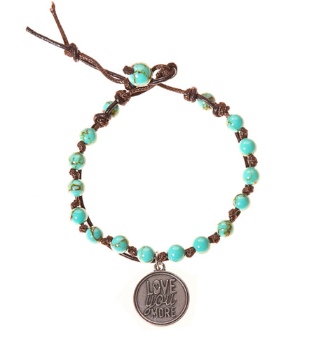 Love You More Stainless Steel Charm and Turquoise Howlite Stone Leather Wrap