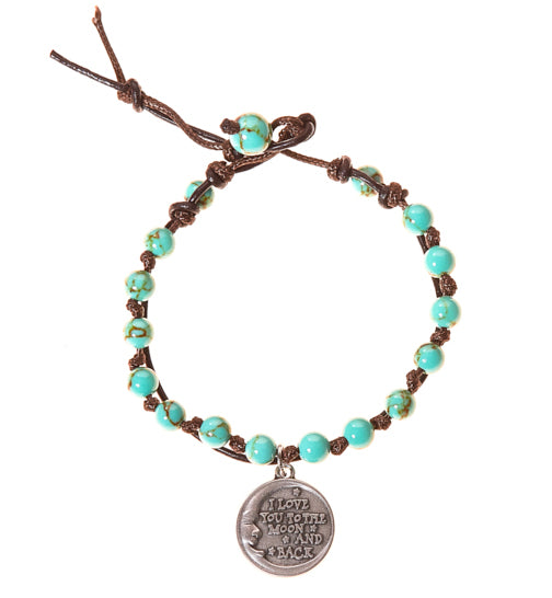 Love You To the Moon & Back Stainless Steel Charm and Turquoise Howlite Stone Leather Wrap - BellaRyann