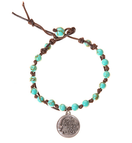 Love You To the Moon & Back Stainless Steel Charm and Turquoise Howlite Stone Leather Wrap