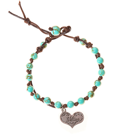Mom Stainless Steel Charm and Turquoise Howlite Stone Leather Wrap