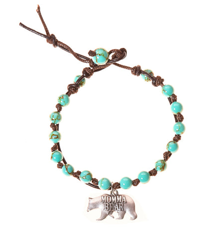 Momma Bear Stainless Steel Charm and Turquoise Howlite Stone Leather Wrap