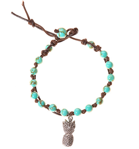 Pineapple Stainless Steel Charm and Turquoise Howlite Stone Leather Wrap - BellaRyann