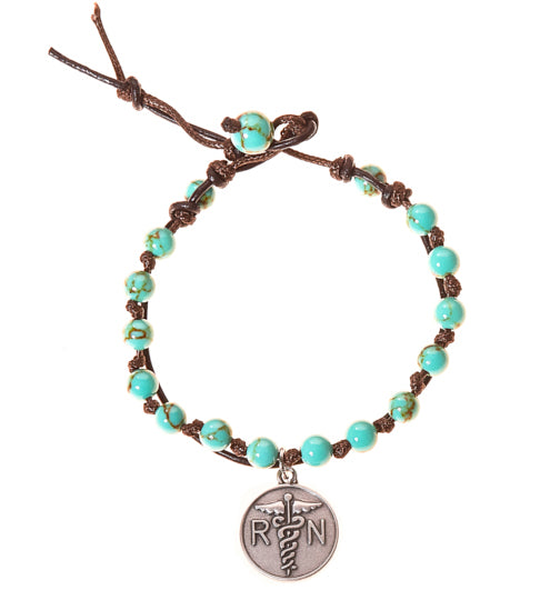 Nurse RN Stainless Steel Charm and Turquoise Howlite Stone Leather Wrap