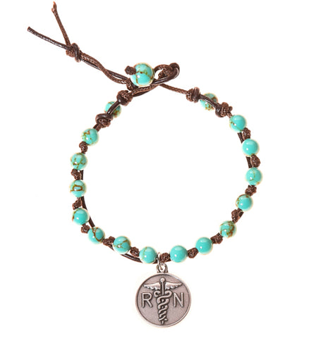 Nurse RN Stainless Steel Charm and Turquoise Howlite Stone Leather Wrap - BellaRyann