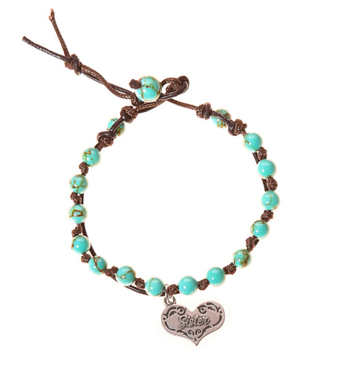 Sister Stainless Steel Charm and Turquoise Howlite Stone Leather Wrap - BellaRyann