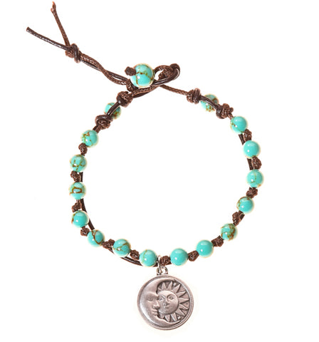 Sun and Moon Stainless Steel Charm and Turquoise Howlite Stone Leather Wrap