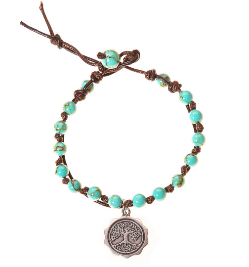 Tree of Life Stainless Steel Charm and Turquoise Howlite Stone Leather Wrap