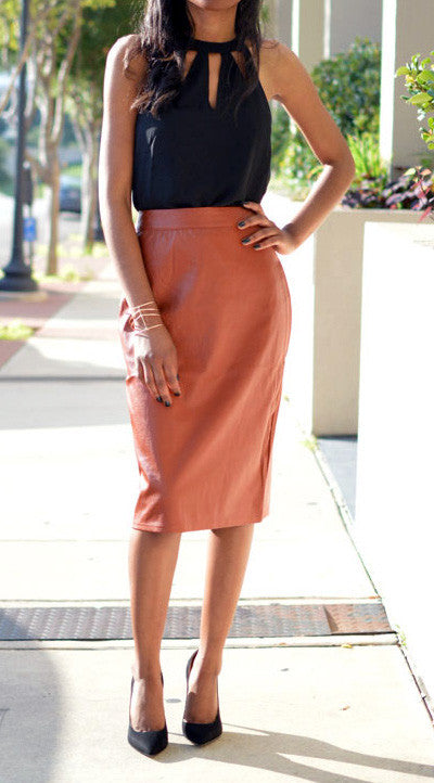 Camille Vegan Leather Pencil Skirt