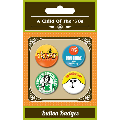 A Child Of The 1970s Button Badge Set