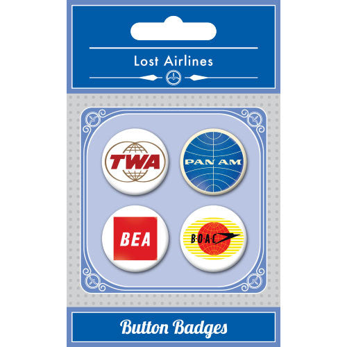 Lost Airlines Button Badge Set