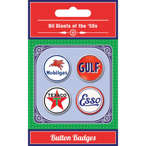 Oil Giants Of The 1950s Button Badge Set