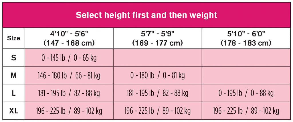 Bust-to-Thigh Size Chart
