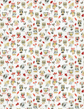 Charleston Ollie Owl Red Animal Fabric
