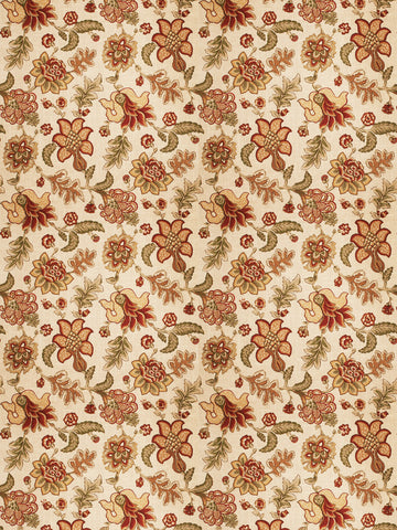 Charleston Percell Persimmon Jacobean Fabric