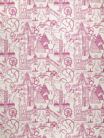 Charleston Sightseeing Toile Bubble Gum Juvenile Fabric