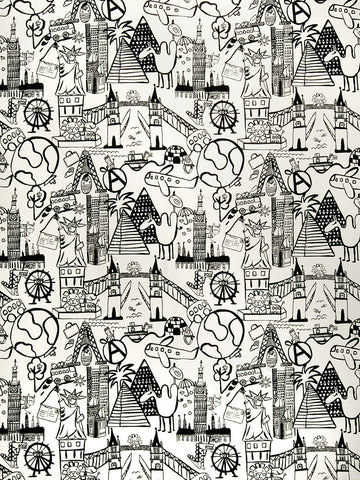 Charleston Sightseeing Toile Graphite Juvenile Fabric