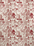 Charleston Sightseeing Toile Red Juvenile Fabric