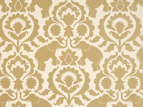 Covington Babar Elephants Jacquard Sand Damask Fabric