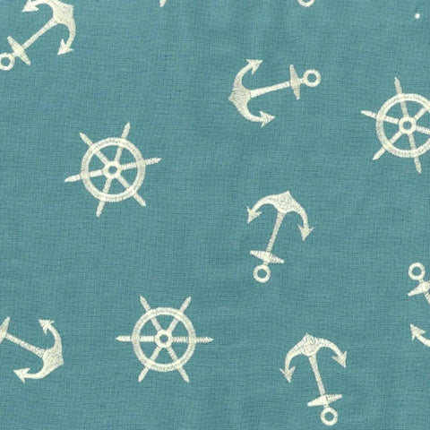 Regal Fabrics K-Anchors Aqua Embroidered Fabric