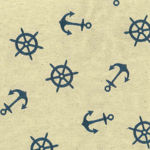 Regal Fabrics K-Anchors Cobalt Embroidered Fabric