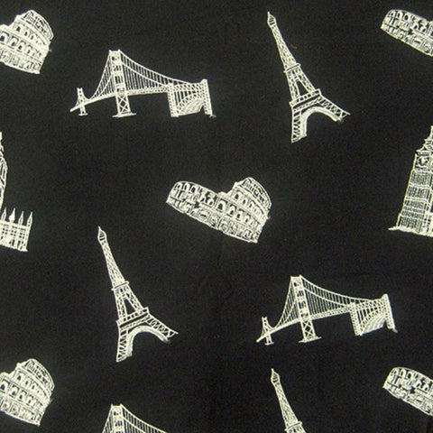 Regal Fabrics K-Architecture Black Embroidered Fabric