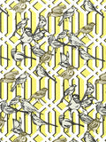 Charleston Fabrics Aviary Trellis Citrine Prints Fabric