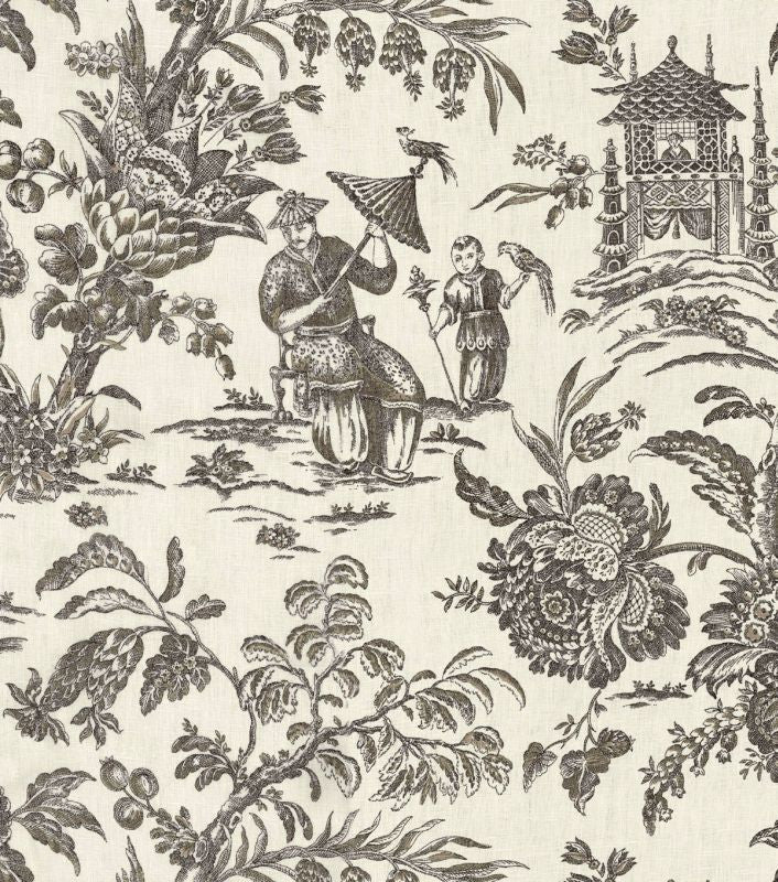 Williamsburg Asian Arcadia Black Orchid 75037 Linen Fabric