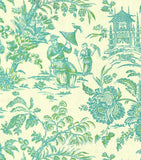 Williamsburg Asian Arcadia Lagoon 750374 Linen Fabric