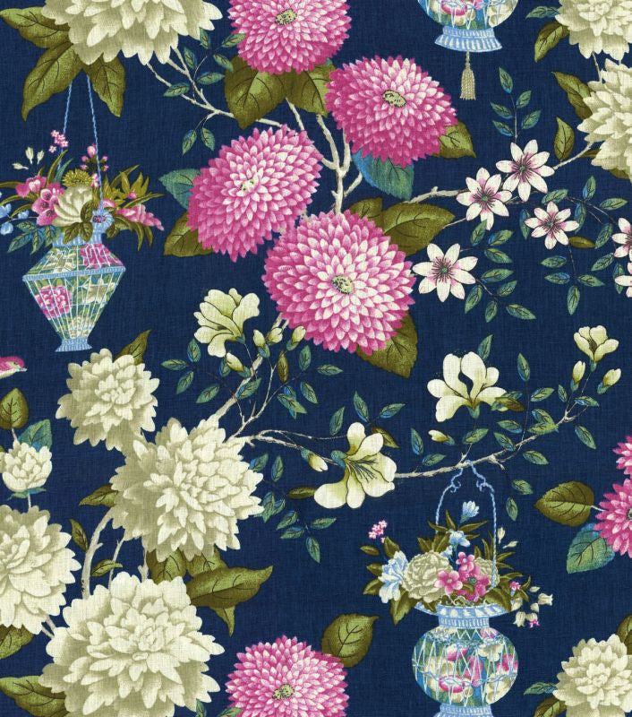 Williamsburg Lightfoot Garden Sapphire 750361 Linen Fabric