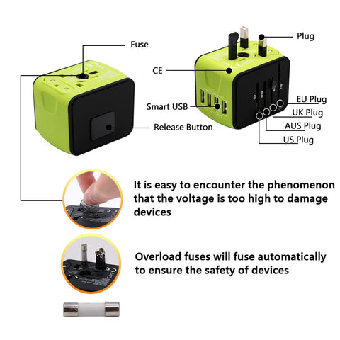 Image of World Travel Adapter with 4 USB hub - 150 countries