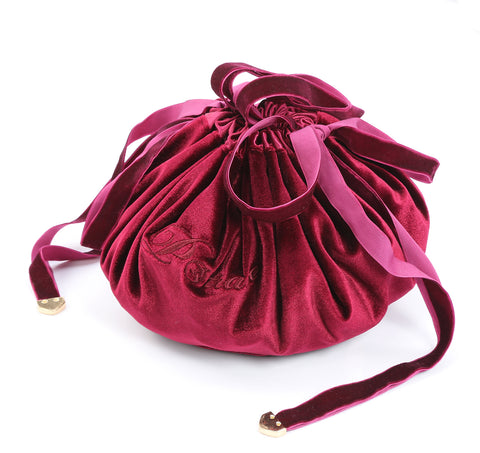 Image of New Velvet Round Travel Drawstring Makeup Bag - maroon- P-Travel
