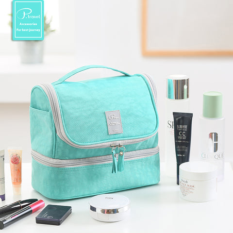 Image of Stand up makeup/toiletry bag - Green- P-Travel