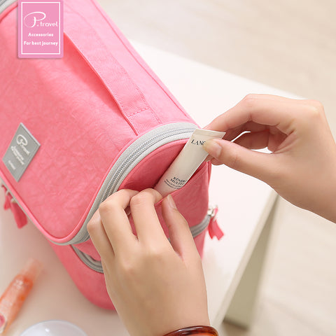 Image of Standup makeup/toiletry bag - Pink- P-Travel