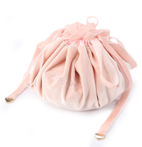 New Velvet Round Travel Drawstring Makeup Bag - pink- P-Travel