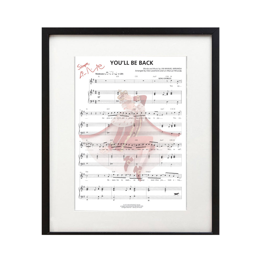 "Hamilton ""You'll Be Back"" 8X10 Music Sheet"