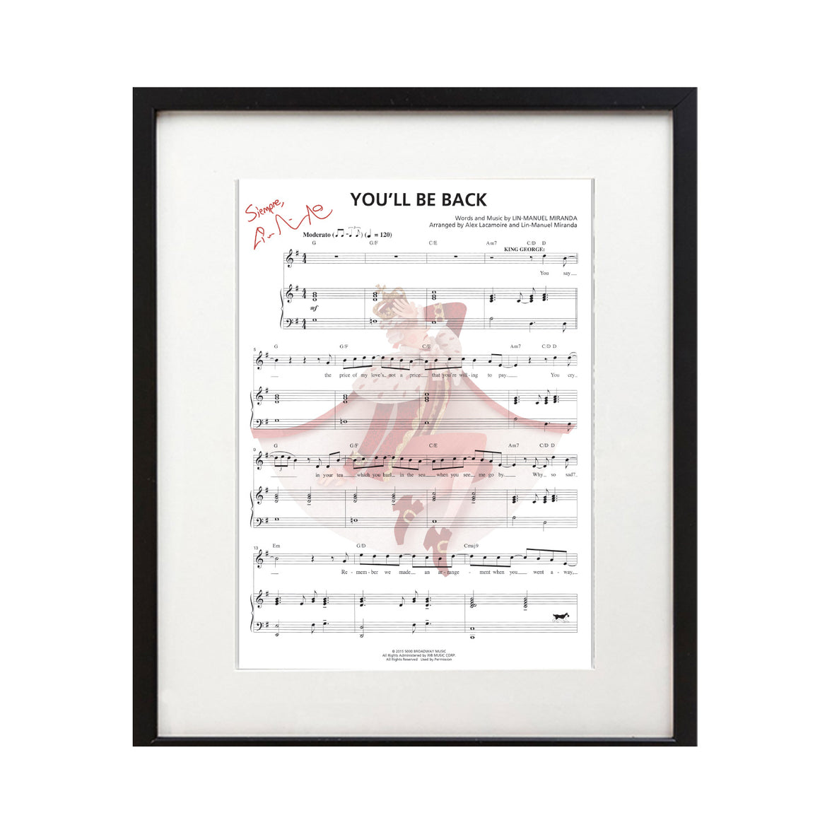 "Hamilton ""You'll Be Back"" 8X10 Music Sheet - New Item"