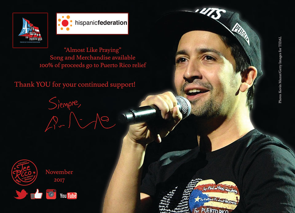 "Lin-Manuel November '17 5x7"" Thank you Card - Benefiting Puerto Rico!"