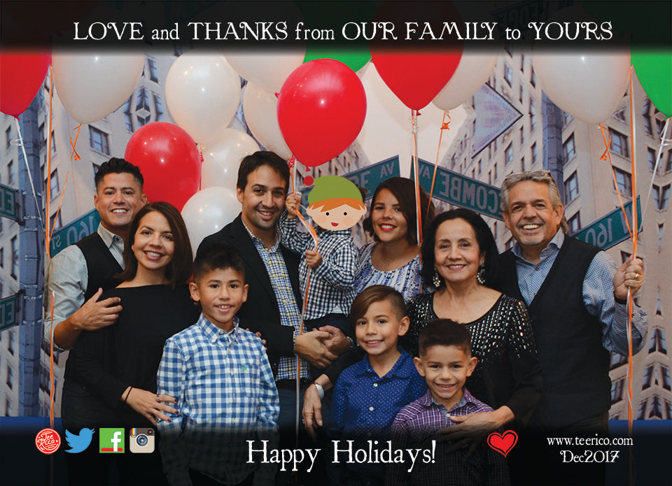 Lin-Manuel December '17 5x7 in Thank you Card - Happy Holidays with Love!