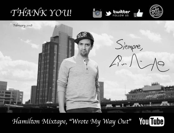 Lin-Manuel February '18 5X7 Thank You Card - Wrote My Way Out!