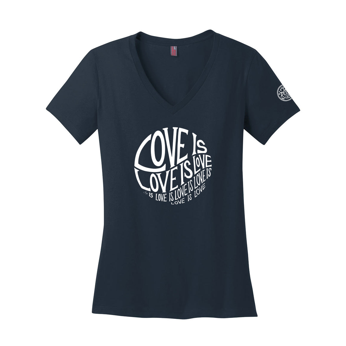Circle of Love is Love - Ladies V-Neck - Navy